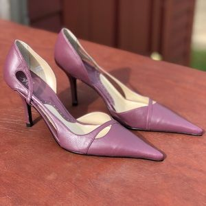 "Purple Leather High Heels 3"" Made in Brazil"